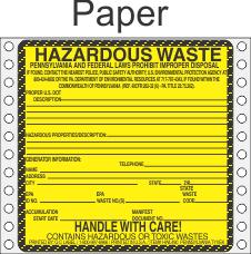 Hazardous Waste Pennsylvania Paper Labels HWL490PAP