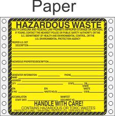 Hazardous Waste South Carolina Paper Labels HWL225SCP