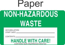Non-Hazardous Waste NHWA64 Paper Labels