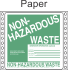 Non-Hazardous Waste Paper Labels HWL355P