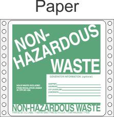 Non-Hazardous Waste Paper Labels HWL355P
