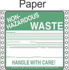 Non-Hazardous Waste Paper Labels HWL360P