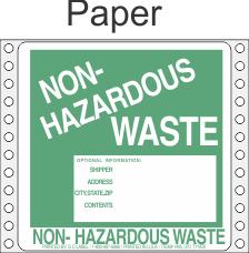 Non-Hazardous Waste Paper Labels HWL370P