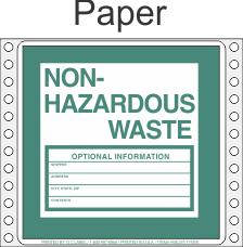Non-Hazardous Waste Paper Labels HWL375P