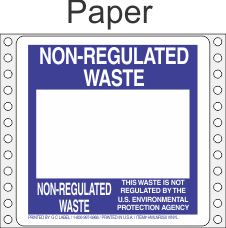 Non-Regulated Waste Paper Labels HWL250P
