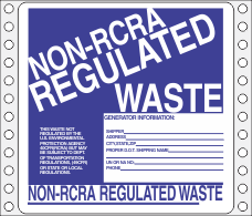 Non-Regulated Waste Paper Labels HWL265P
