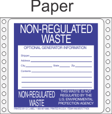 Non-Regulated Waste Paper Labels HWL275P