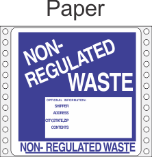 Non-Regulated Waste Paper Labels HWL285P