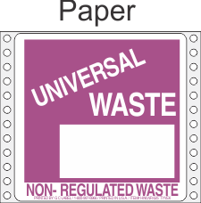 Universal Waste-Non Regulated Paper Labels HWL625P