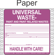 Universal Waste-Paint and Paint Related Paper Labels HWL619P