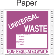 Universal Waste Paper Labels HWL615P