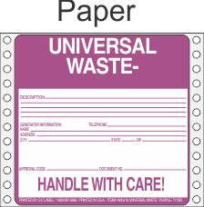 Universal Waste Paper Labels HWL618P