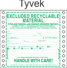 Excluded Recyclable Material Tyvek Labels HWL385T