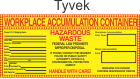 Hazardous Waste Blank-Workplace Accumulation Tyvek Labels HWL550T