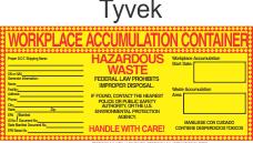 Hazardous Waste Blank-Workplace Accumulation Tyvek Labels HWL550T