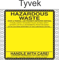 Hazardous Waste California Tyvek Labels HWL150T
