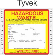 Hazardous Waste California Tyvek Labels HWL202CAT