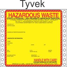 Hazardous Waste California Tyvek Labels HWL415CAT