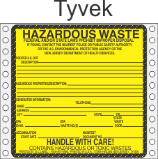 Hazardous Waste New Jersey Tyvek Labels HWL480NJT