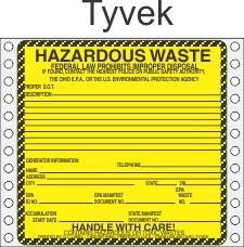 Hazardous Waste Ohio Tyvek Labels HWL485OHT