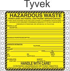 Hazardous Waste Pennsylvania Tyvek Labels HWL490PAT