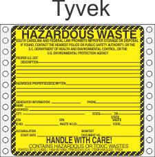 Hazardous Waste South Carolina Tyvek Labels HWL225SCT