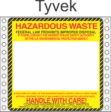 Hazardous Waste Tyvek Labels HWL165T