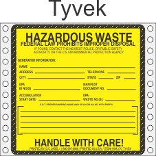 Hazardous Waste Tyvek Labels HWL170T