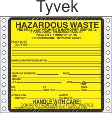 Hazardous Waste Tyvek Labels HWL200T