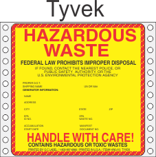 Hazardous Waste Tyvek Labels HWL415T