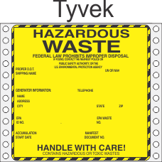 Hazardous Waste Tyvek Labels HWL440T