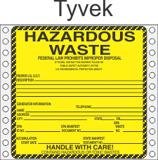 Hazardous Waste Tyvek Labels HWL450T