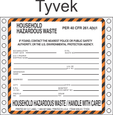 Household Hazardous Waste Tyvek Labels HWL610T