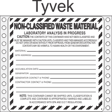 Non-Classified Waste Tyvek Labels HWL629T