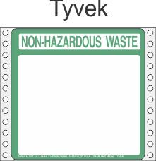 Non-Hazardous Waste Tyvek Labels HWL350T