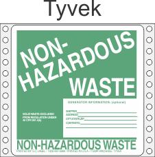 Non-Hazardous Waste Tyvek Labels HWL355T