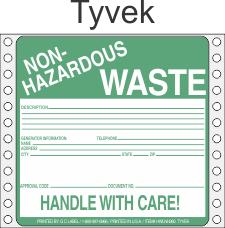 Non-Hazardous Waste Tyvek Labels HWL360T