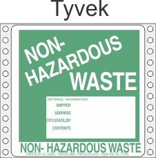 Non-Hazardous Waste Tyvek Labels HWL370T