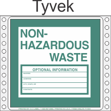 Non-Hazardous Waste Tyvek Labels HWL375T