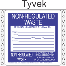Non-Regulated Waste Tyvek Labels HWL275T
