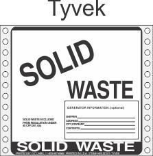 Solid Waste Tyvek Labels HWL315T