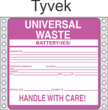 Universal Waste-Batteries Tyvek Labels HWL623T