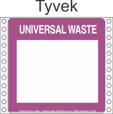 Universal Waste Tyvek Labels HWL616T