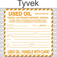 Used Oil Tyvek Labels HWL620T