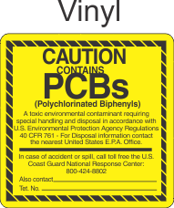 Caution Contains PCBs PCB0166 Vinyl Labels