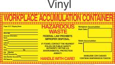 Hazardous Waste Blank-Workplace Accumulation Vinyl Labels HWL550V