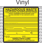 Hazardous Waste California Vinyl Labels HWL200CAV