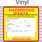 Hazardous Waste California Vinyl Labels HWL202CAV
