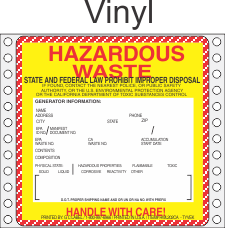 Hazardous Waste California Vinyl Labels HWL202CAV