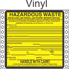Hazardous Waste Pennsylvania Vinyl Labels HWL490PAV